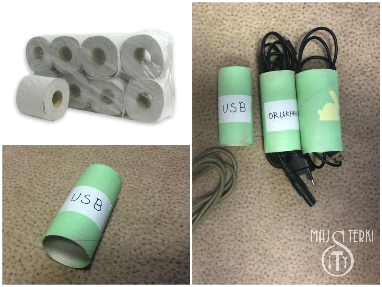 Segregowanie kabli za pomocą rolki po papierze toaletowym