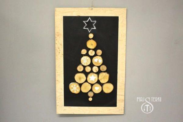 Ekochoinka z drewnianych plastrów na Święta Bożegonarodzenia