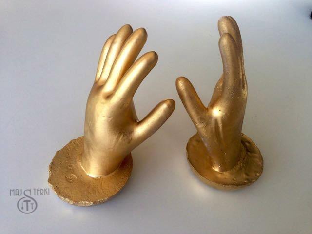 Złote ręce z gipsu, robimy podpórki DIY do książek, ozdoba DIY